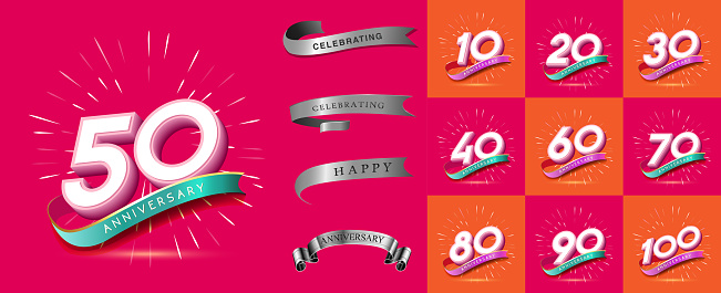 Set of Anniversary emblems , anniversary template design for web, game ,Creative poster, booklet, leaflet, flyer, magazine, invitation card - Vector - Vector