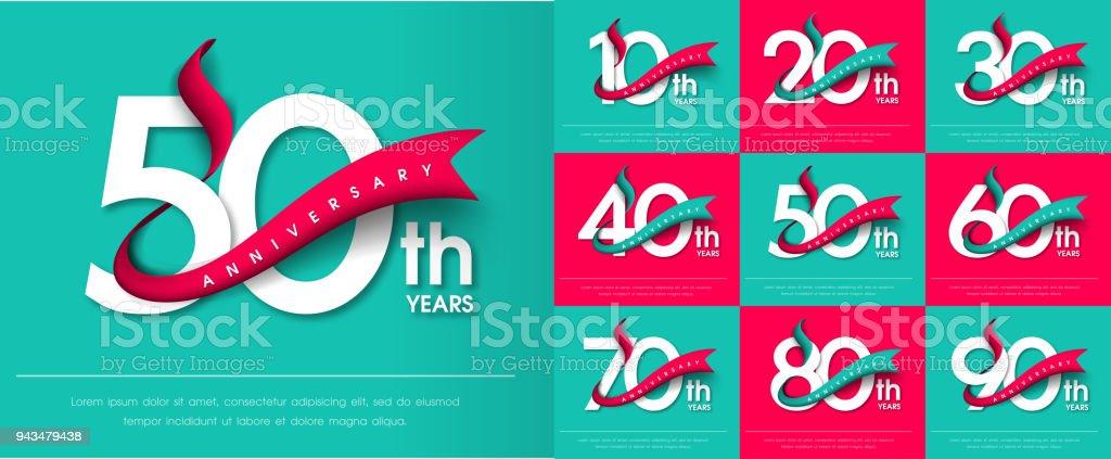 Set Van Emblemen Van De Verjaardag Verjaardag Sjabloon Ontwerpen