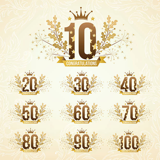 Set of anniversary emblems. vector art illustration