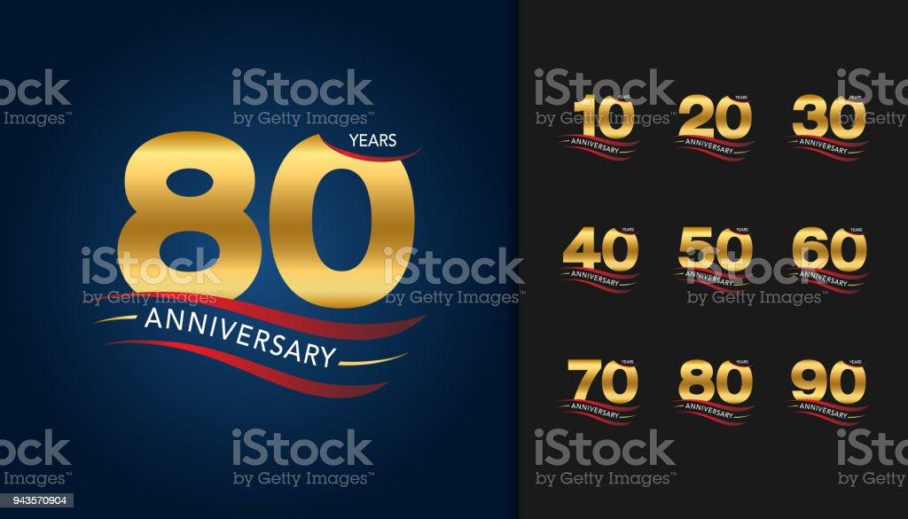 Set of anniversary icons. Golden anniversary celebration emblem with ribbon design for booklet, leaflet, magazine, brochure poster, web, invitation or greeting card. vector art illustration