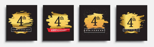 Set of Anniversary logo vector art illustration