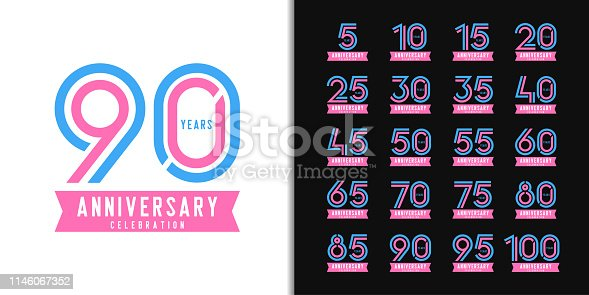 Set of anniversary logotype. Colorful anniversary celebration emblem design for company profile, booklet, leaflet, magazine, brochure, web, invitation or greeting card. Vector illustration.