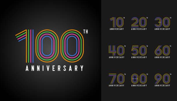 bildbanksillustrationer, clip art samt tecknat material och ikoner med uppsättning av årsdagen logotype. färgglada anniversary celebration ikoner design för företagsprofil, häfte, broschyr, magasin, broschyr affisch, web, inbjudan eller gratulationskort. - nummer 100