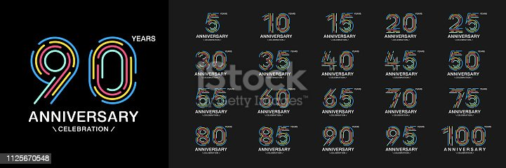 Set of anniversary logotype. Colorful anniversary celebration icons. Design for company profile, booklet, leaflet, magazine, brochure, invitation or greeting card. Vector illustration.