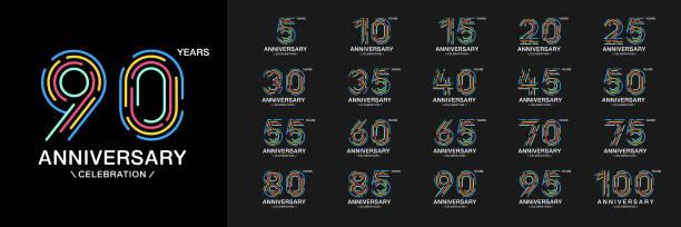 bildbanksillustrationer, clip art samt tecknat material och ikoner med uppsättning av årsdagen logotype. färgglada anniversary celebration ikoner. design för företagsprofil, häfte, broschyr, magasin, broschyr, inbjudan eller gratulationskort. - talet 50