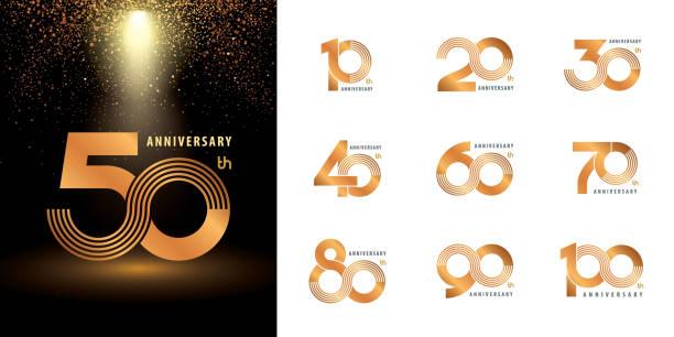 ilustraciones, imágenes clip art, dibujos animados e iconos de stock de conjunto de diseño logotipo de aniversario, celebración de logotipo de aniversario de múltiples líneas de plata y oro - anniversary