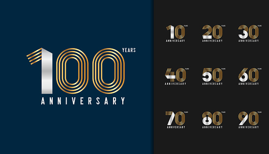 Set of anniversary logotype. Golden and silver anniversary celebration emblem design for company profile, booklet, leaflet, magazine, brochure poster, web, invitation or greeting card. Vector illustration.