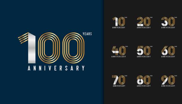 bildbanksillustrationer, clip art samt tecknat material och ikoner med uppsättning av årsdagen logotype. golden och silver anniversary celebration emblem design för företagsprofil, häfte, broschyr, magasin, broschyr affisch, web, inbjudan eller gratulationskort. vektorillustration. - nummer 100