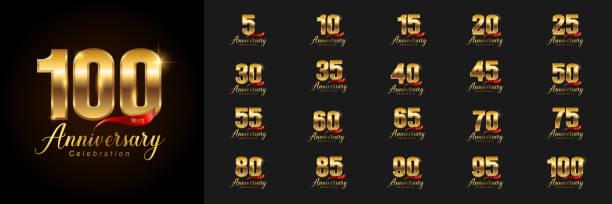 bildbanksillustrationer, clip art samt tecknat material och ikoner med uppsättning av årsdagen logotype. golden anniversary celebration emblem design för företagsprofil, häfte, broschyr, magasin, broschyr, affisch, web, inbjudan eller gratulationskort. - årsdag