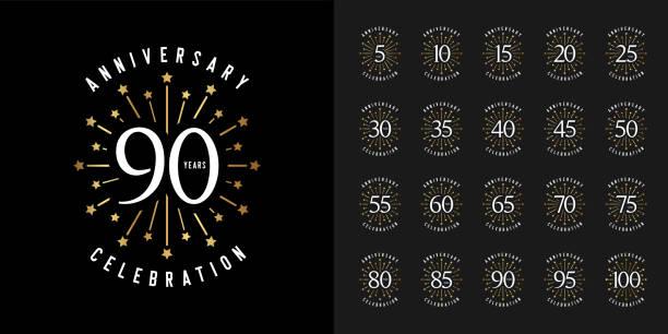 ilustraciones, imágenes clip art, dibujos animados e iconos de stock de conjunto de logotipo de aniversario. emblema de celebración de aniversario dorado con fuegos artificiales. diseño para perfil de empresa, folleto, folleto, revista, cartel de folleto, web, invitación o tarjeta de felicitación. - anniversary