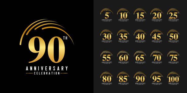 bildbanksillustrationer, clip art samt tecknat material och ikoner med uppsättning av jubileums logo typ. gyllene jubileums fest emblem. design för företags profil, broschyr, broschyr, magasin, broschyr affisch, webb, inbjudan eller gratulations kort. - årsdag