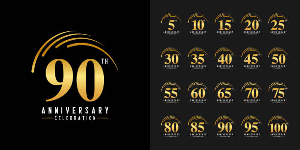 ilustraciones, imágenes clip art, dibujos animados e iconos de stock de conjunto de logotipo de aniversario. emblema de la celebración del aniversario de oro. diseño para perfil de empresa, folleto, folleto, revista, cartel de folleto, web, invitación o tarjeta de felicitación. - anniversary