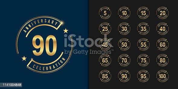 Set of anniversary logotype. Golden anniversary celebration emblem design for company profile, booklet, leaflet, magazine, brochure poster, web, invitation or greeting card. Vector illustration.