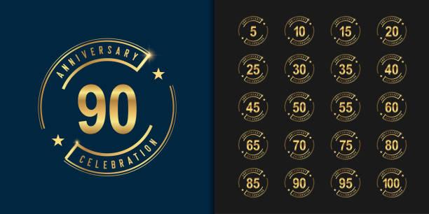 ilustraciones, imágenes clip art, dibujos animados e iconos de stock de conjunto de logotipo de aniversario. aniversario de oro celebración diseño emblema. - anniversary