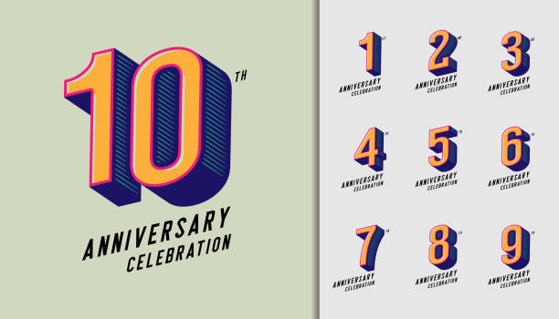 Set of anniversary logotype. Modern anniversary celebration icons. Design for company profile, booklet, leaflet, magazine, brochure, invitation or greeting card. Set of anniversary logotype. Modern anniversary celebration icons. Design for company profile, booklet, leaflet, magazine, brochure, invitation or greeting card. Vector illustration. number stock illustrations