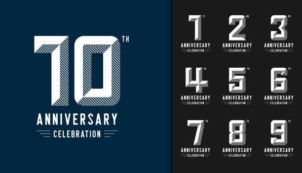 bildbanksillustrationer, clip art samt tecknat material och ikoner med uppsättning av årsdagen logotype. moderna anniversary celebration ikoner. design för företagsprofil, häfte, broschyr, magasin, broschyr, inbjudan eller gratulationskort. - årsdag