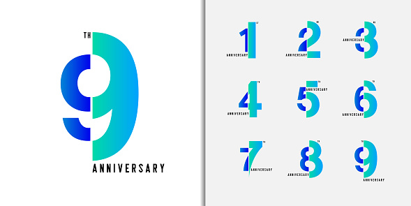 Set of anniversary logotype. Modern colorful anniversary celebration icons design for company profile, booklet, leaflet, magazine, brochure poster, web, invitation or greeting card. Vector illustration.