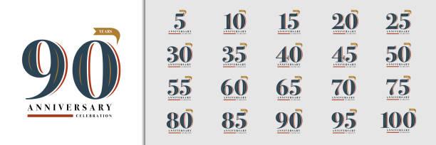 bildbanksillustrationer, clip art samt tecknat material och ikoner med uppsättning av årsdagen logotype. premium-årsjubileum firande emblem design för företagsprofil, häfte, broschyr, magasin, broschyr, inbjudan eller gratulationskort. - årsdag