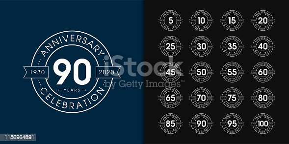 Set of anniversary logotype. Premium anniversary celebration emblem design for company profile, booklet, leaflet, magazine, brochure, web, invitation or greeting card. Vector illustration.