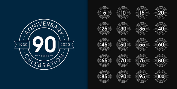Set of anniversary logotype. Premium anniversary celebration emblem design for company profile, booklet, leaflet, magazine, brochure, web, invitation or greeting card.