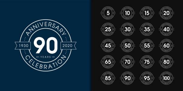 zestaw logotypu rocznicy. projekt emblematu z okazji rocznicy premium dla profilu firmy, broszury, ulotki, czasopisma, broszury, strony internetowej, zaproszenia lub kartki z życzeniami. - insygnia stock illustrations