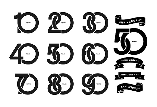 Set of anniversary pictogram icon. Flat design. 10, 20, 30, 40, 50, 60, 70, 80, 90, years birthday logo label, black and white stamp. Vector illustration. Isolated on white background