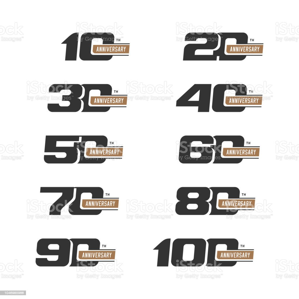 Set of anniversary signs from 10 to 100. Numbers in two colors. vector art illustration