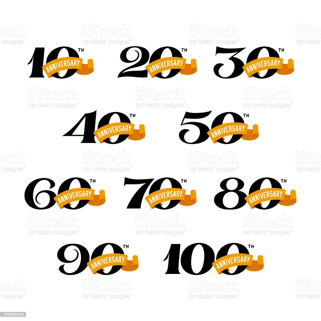 Set of anniversary signs from 10 to 100. vector art illustration