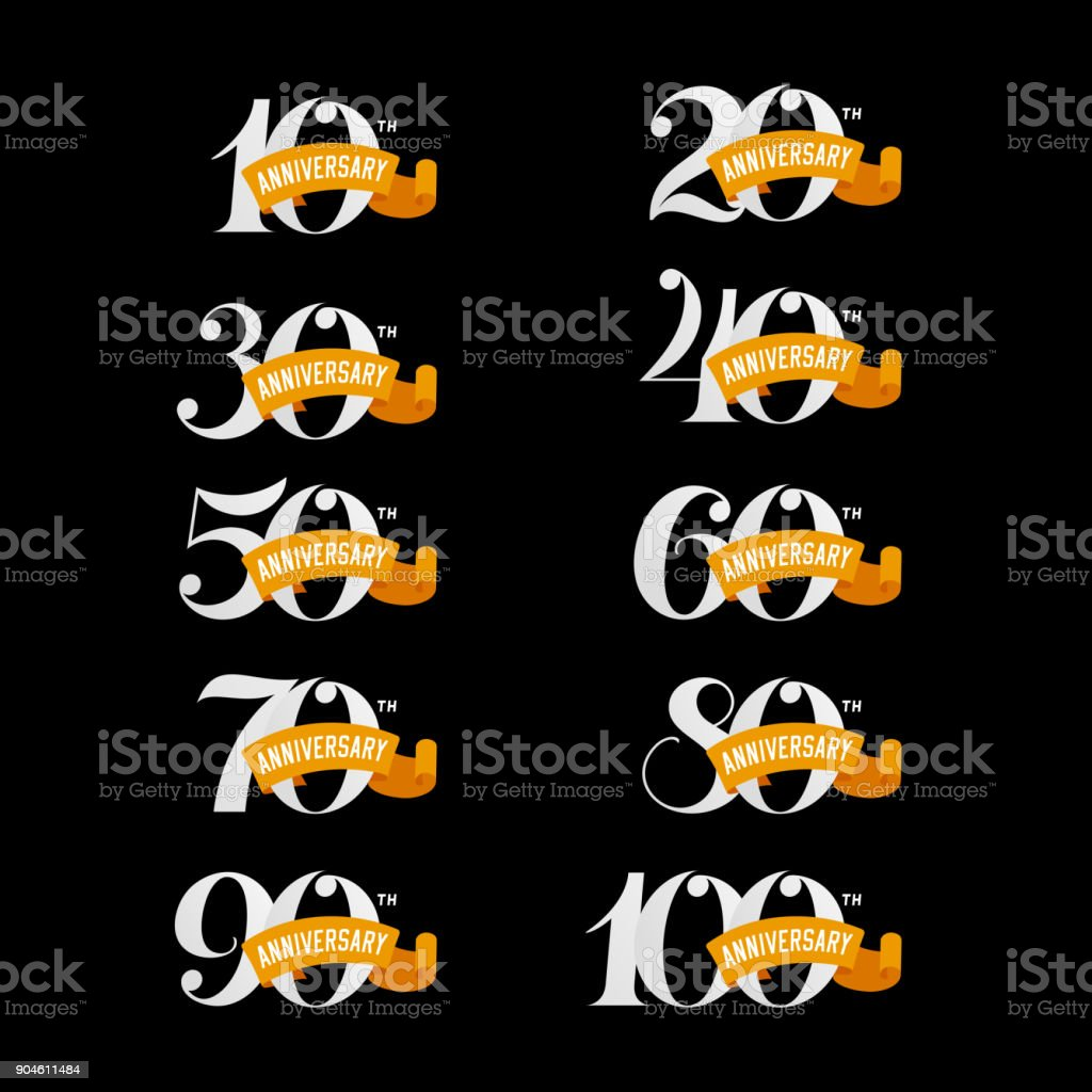 Set of anniversary signs from 10th to 100th. White numbers. vector art illustration