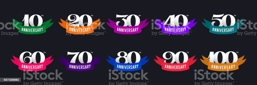 Set of anniversary signs. Numbers and color ribbons vector art illustration