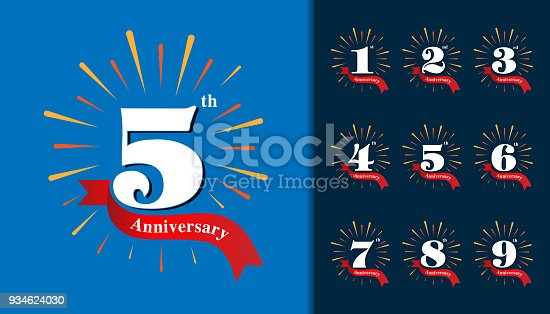 Set of anniversary type. Fireworks anniversary design template for booklet, leaflet, magazine, brochure poster, web, invitation or greeting card. Vector illustration.