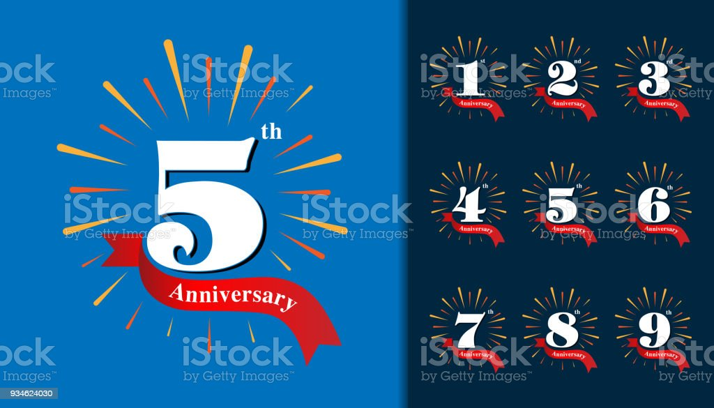 Set of anniversary type. Fireworks anniversary design template for booklet, leaflet, magazine, brochure poster, web, invitation or greeting card. vector art illustration