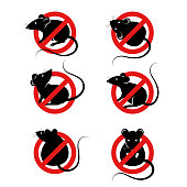 Set of anti pest signs with black rats silhouettes under red circle. Vector illustration. House mouse, home parasite icons.