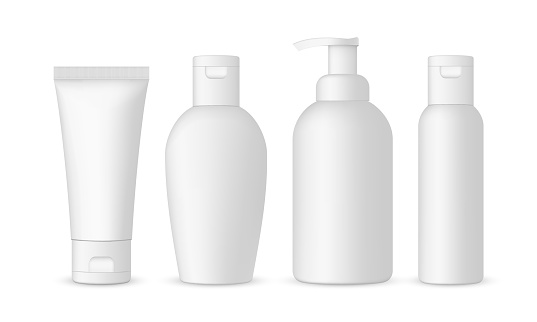 Set of antibacterial hand sanitizers mockups isolated on white background