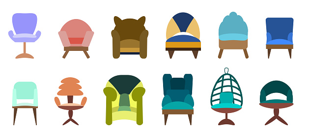 A set of antique and modern colored armchairs and chairs isolated on a white background. Vector illustration in flat style. Collection of furniture for bedroom, office, living room