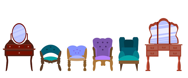 Set of antique armchairs, dressing table, vanity,  and chairs isolated on a white background. Vector illustration in flat style. Collection of furniture for bedroom, office, living room