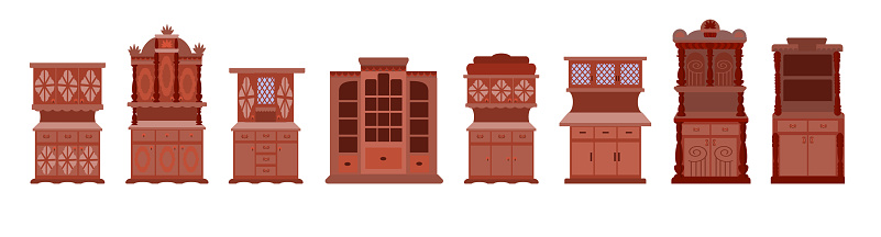A set of antique cabinets.Collection of vintage wardrobes isolated on a white background.  Furniture for the living room kitchen and bedroom in the Victorian style. Vector illustration in flat style
