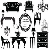 Set of antique furniture - isolated black silhouettes.