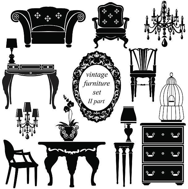 ilustrações de stock, clip art, desenhos animados e ícones de conjunto de mobiliário antigo-silhuetas negras isoladas - lian empty