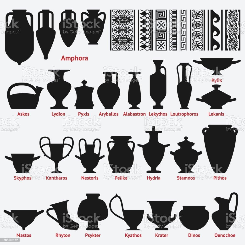 Set of antique greek vases and border decoration seamless patterns set of antique greek vases and border decoration seamless patterns royalty free set of antique reviewsmspy