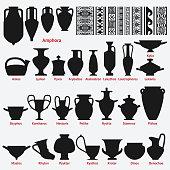 Set of antique Greek vases and border decoration seamless patterns