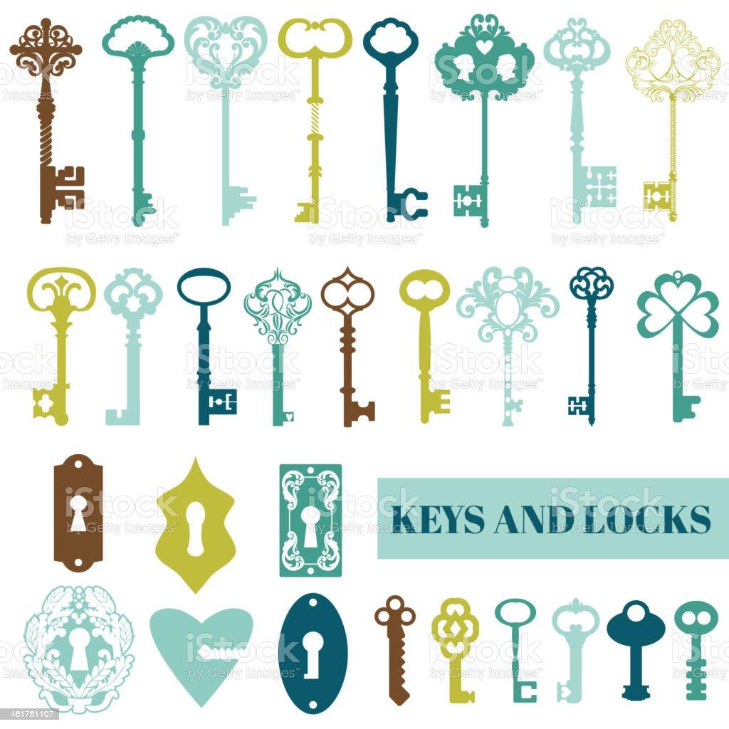 Set of Antique Keys and Locks vector art illustration