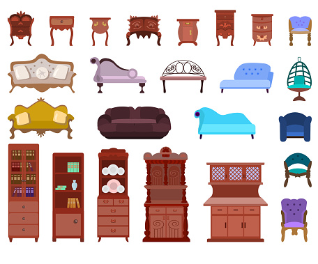 Set of antique nightstands, chests of drawers, armchairs, sofas, cabinets isolated on a white background.Collection of antique furniture for the bedroom, living room.Vector illustration in flat style.