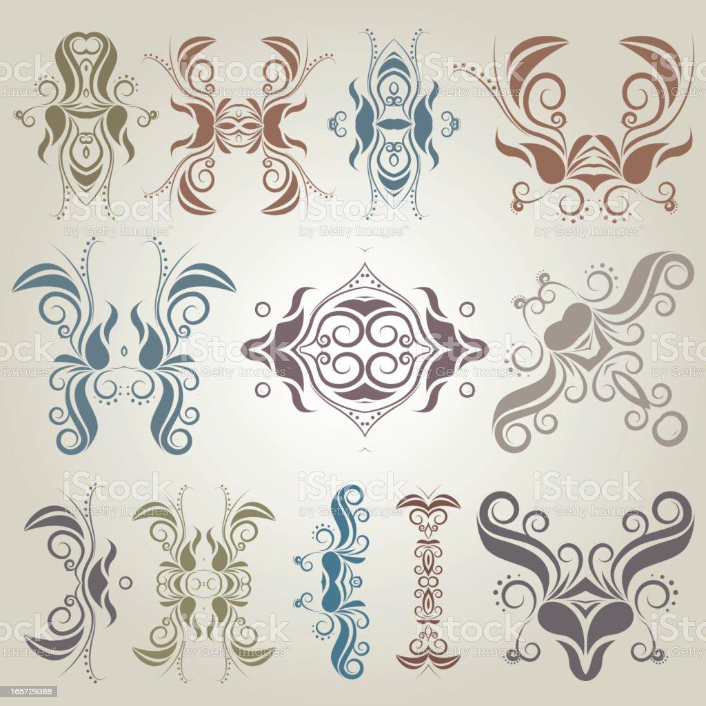 Set of antique organic design elements royalty-free stock vector art