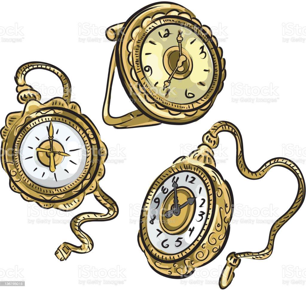 Set of antique pocket watches on white vector art illustration