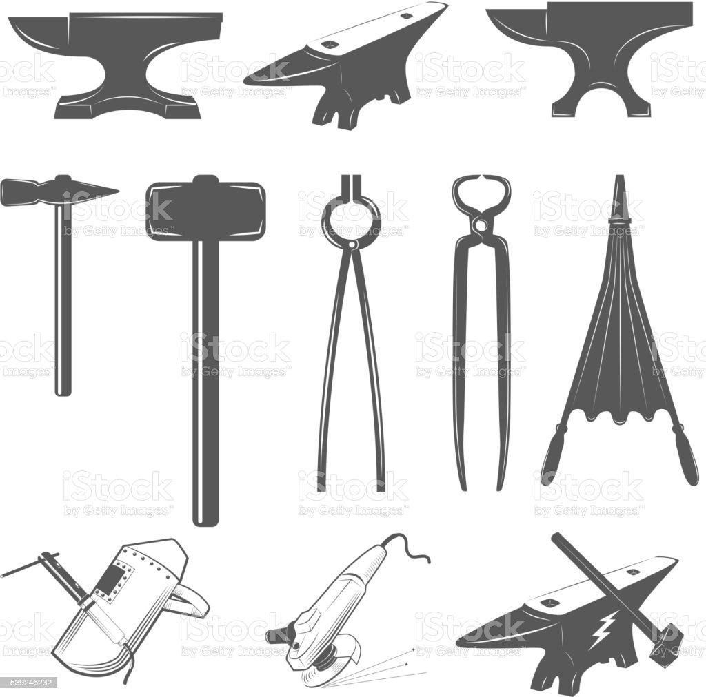 Set of anvils,hammers and design elements for blacksmith labels vector art illustration