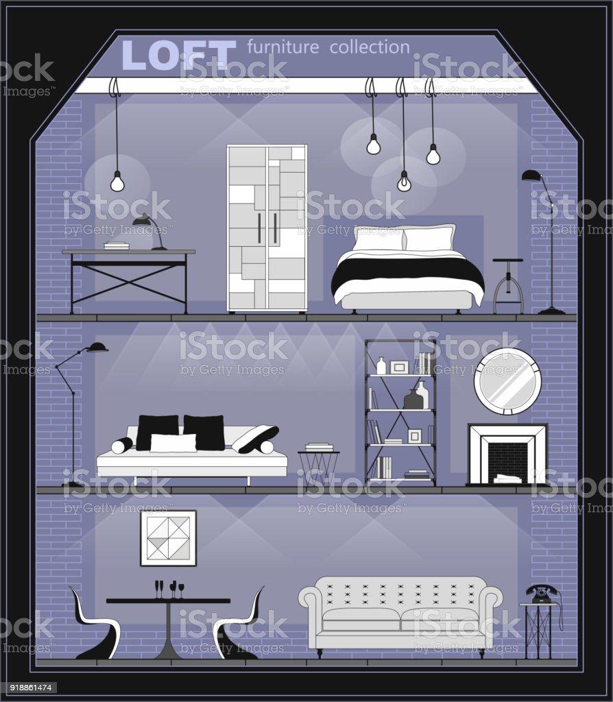 Satz Von Wohnung Interieur Mit Möbelsymbole Detaillierte Inneneinrichtung  Mit Wohnzimmer Schlafzimmer Und Halle Im Flachen Loftstil Vorderansicht ...