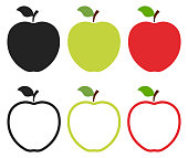 Set of apple icons. Black, green, red fill and outline apple logo isolated on white background. Vector illustration for any design.