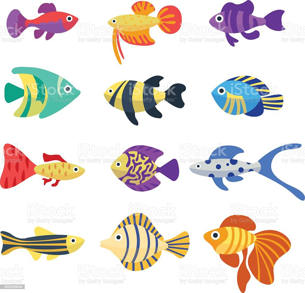 Set of aquarium fish cute cartoon colorful different fish for Cute freshwater fish