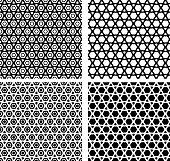 set of   arabian  contour  seamless  patterns